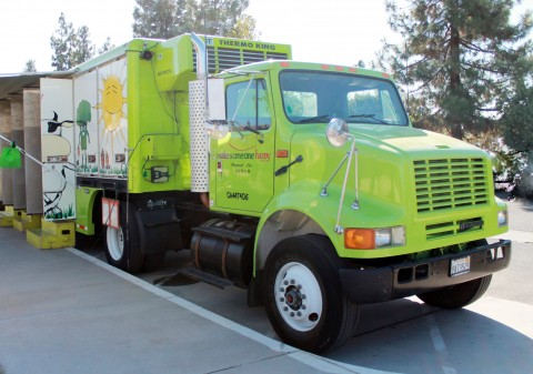 The truck that visits Merced's food deserts offering fresh local fruits and vegetables.