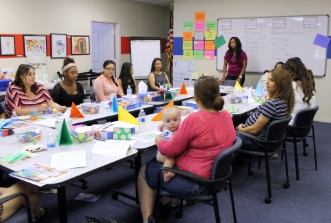 An All Moms Matters session, where new moms learn about pregnancy and parenting.
